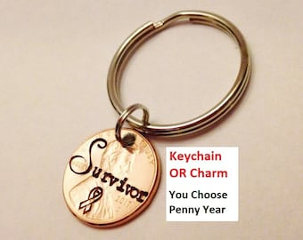 Cancer Survivor Keychain or Charm: Cancer Awareness Ribbon, Gift for Her Mom BFF, Beat Breast Cancer, Stamped Lucky Penny, Cutomizable Year