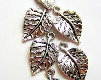 12 silver Leaf Charms jewelry supplies leaf pendants earring dangles 21mm 13mm L888 (CC4)