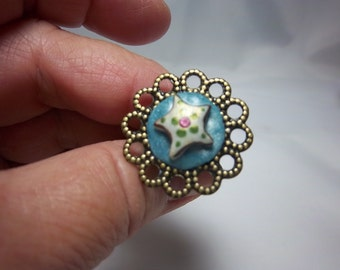 Clearance, Starfish Ring, Sea Life, Polymer Clay Ring, Aqua, Fashion Ring, Summer Jewelry