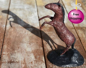 Paper Mache Rearing Horse Sculpture - Free Shipping