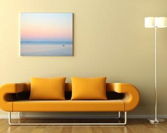 Meer-Photographie, Meer Nebel, Frühjahr Dämmerung, Scanidnavian Naturfoto, milchig Rosa Himmel, 5 x 7 Fotodruck