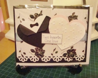 Two hearts one love wedding greeting card