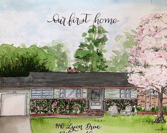 Custom House Portrait   house painting in watercolor    home portrait   Housewarming gift   custom calligraphy accents    house painting