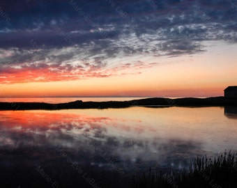 Photography art decor, reflection of the sunset on a pond + the Magdalen Islands Sea: pond-des-Caps - Marie - Eve LaBadie