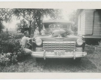 Vintage Snapshot Photo: Dodge, 1947 Iowa Plates  (81633)
