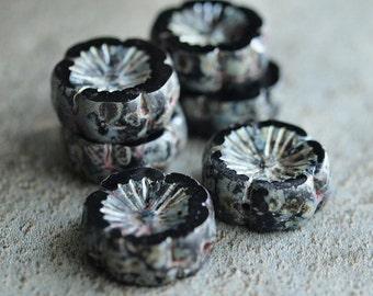 Midnight Czech Glass Picasso Chunky 14mm Flower Beads : 6 pc Black Flower Bead