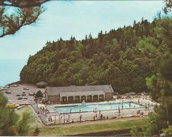 Vintage 1950s Postcard Bay of Fundy National Park New Brunswick NB Canada Swimming Pool Scenic Atlantic Card Photochrome Postally Unused