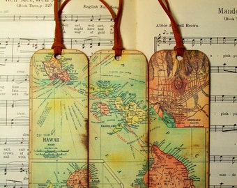 Hawaii Map Bookmarks Circa 1912 Old Map Bookmark Set of 3 Gifts for Men Bookmarks for Men Gifts for Guys