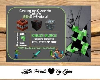 Minecraft birthday invitation etsy minecraft birthday party invitation custom and personalized digital copy 6x4 filmwisefo Gallery