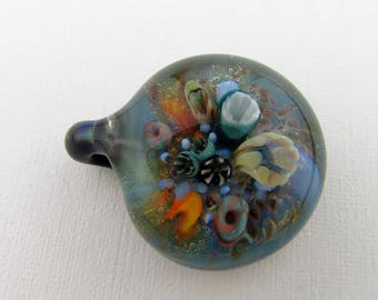 Hand Blown Glass Coral Reef Jewelry, Handmade Borosilicate glass, Ocean pendant necklace, Heady Glass Art, Lampwork, Anniversary Gift, Boro