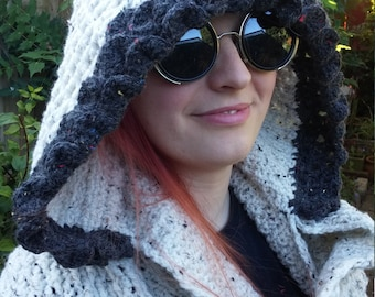Hooded scarf/scoodie with pockets; handmade crochet chunky & cosy TBC151