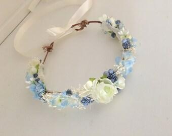 Flower crown- Blue Flower crown- Well dressed wolf- Floral crown- Bridal Crown- Flower Girl-  Dollcake -tutu du monde