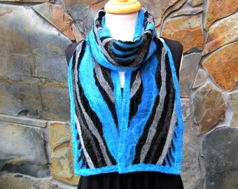 Blue and gray diagonal line design, nuno felt scarf