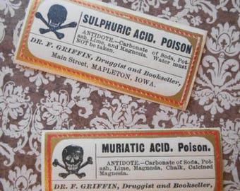 2 Incredible Antique Victorian Acid Poison Labels