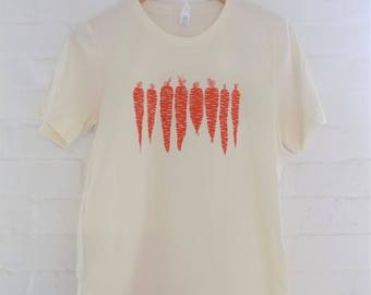 Carrot T-Shirt, Food Shirt, Screen Printed T Shirt,  Vegetable Shirt, Soft Style Tee