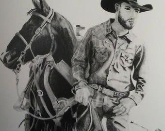 Western Cowboy Shooting Horse Print Of Original Pencil Drawing