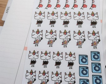 Cute Unicorn cleaning / laundry stickers (CL01 CL02 CL03)