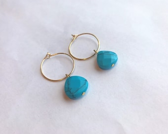 Turquoise Teardrop Stone Gold Hoop Earrings
