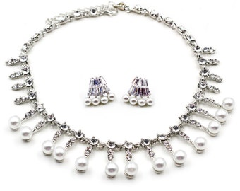 Silver pearl little crystal set