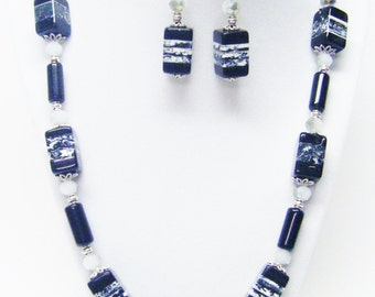 Black & White Square Marble Bead w/White Sparkle Bead Necklace and Earrings Set