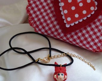 BABY GIRL COLOR PENDANT NECKLACE RED AND BLACK