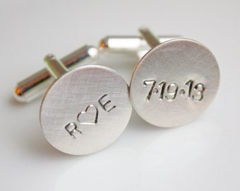 Personalized Cuff Links Cufflinks- Custom Date for Groom or Groomsmen Dad or Grandfather