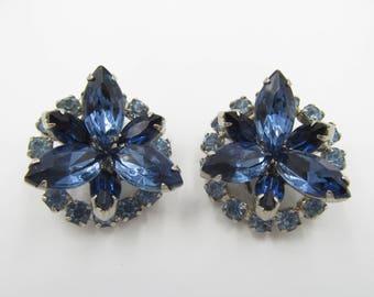 Vintage Blue Rhinestone Earrings