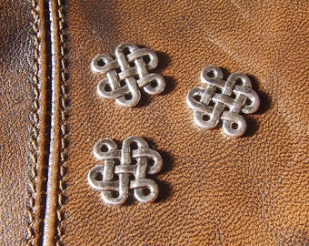 10 charms square knot antique silver, size 17mm x 14mm