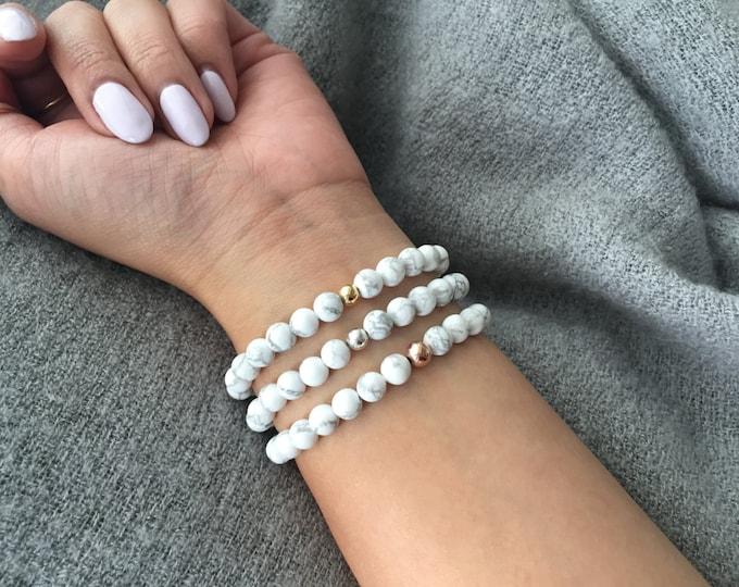 White Howlite (Marble) Stretch Bracelet