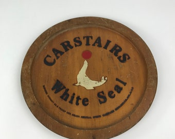 Carstairs White Seal Blended Whiskey Wooden Serving Tray, Wood Tray, Whiskey Wall Hanging, Bar Decor, Man Cave Decor, Distressed Wood Tray