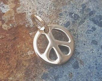 World peace necklace etsy tiny peace sign charm natural bronze gold tone small peace symbol necklace or aloadofball Choice Image