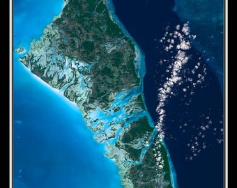 Andros Islands Bahamas Satellite Poster Map
