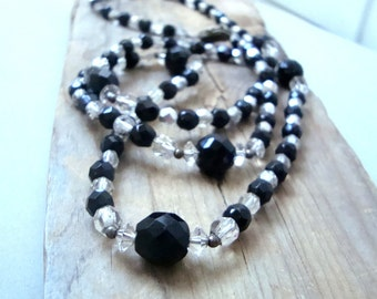 Vintage Black and White Crystal Necklace Long Holiday Jewelry Party Jewelry New Years Gifts Under 60 Gifts For Her Statement Jewelry