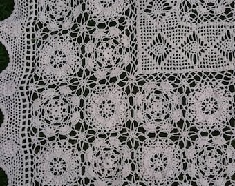 French Crochet Lace Small Tablecloth, Vintage Cotton Crochet Panel in Cottage Chic Style