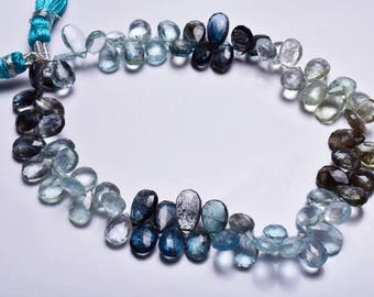 Natural Gem Stone 9 Inch,SUPERB, AAA Quality,Multi Moss Aquamarine faceted   Pear Shape  Beads Briolettes    8 To 10 MM Size