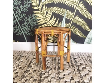 Vintage Round Bamboo Plant Stand
