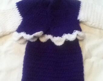 Preemie Crochet Baby Sweater Set, Purple and White, Preemies to Newborn size, Handmade