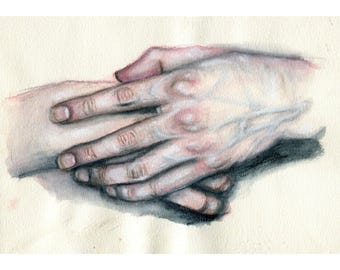 "Resting Hands 11"" by 8.5"" Print"