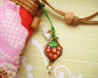 Phone/ Dust Plug charm with strawberry cabochon and glass flowers - Ichigo
