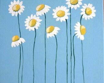 Sweet Daisies, painting, handmade, acrylic painting, daisy painting, daisy art, painting of daisies, blue daisies, white daisies