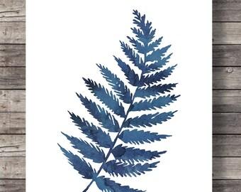 Ink blue fern prints   Printable art   painting indigo fern leaf prints  watercolor leaf botanical illustration   Instant download