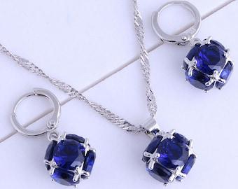 Elegant Blue Crystal Hoop Earring Pendant Necklace Set