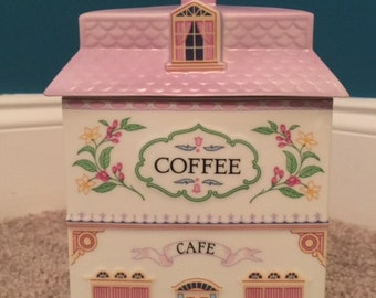 Coffee Caddy, Lenox Village Canister Series, Porcelain