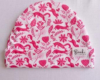 Autumn Beanie, girls beanie, baby hat, reversible hat