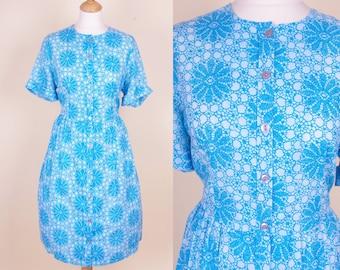 60s 'Lady Daytimer' Flower Dress L/XL - 33'' waist
