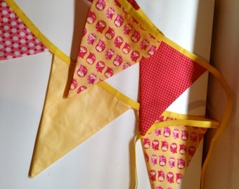Permanent reusable pink yellow bright celebration party nursery playroom shower baby gift dot owl flags banner bunting