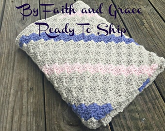 Baby Afghan - Periwinkle Wheat and Pink - Ready To Ship Afghan - Baby Blanket - Crochet Afghan - Crochet Blanket - Baby Girl Afghan