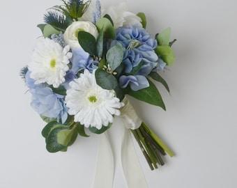 Blue Bouquet, Wedding Bouquet, Boho Bouquet, Daisy, Thistles, Silk Flower Bouquet, Silk Bouquet, Wedding Flowers, Custom Bouquet, Hydrangea