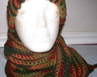 Multi color hat and scarf