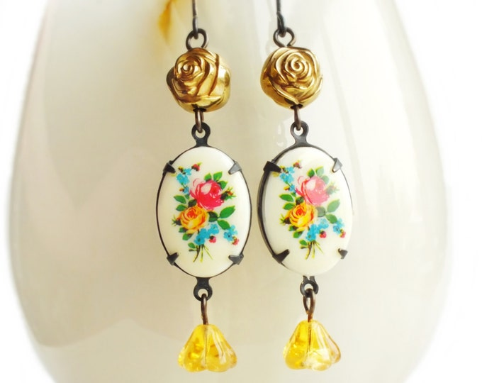 Victorian Floral Earrings Vintage Flower Cameo Dangles Colorful Floral Yellow Gold Victorian Floral Jewelry Flower Earrings